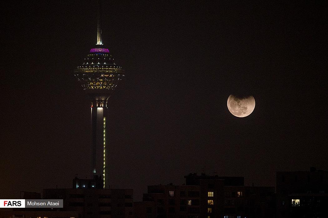 تصاویر پدیده ابرماه آبی خونین در ایران