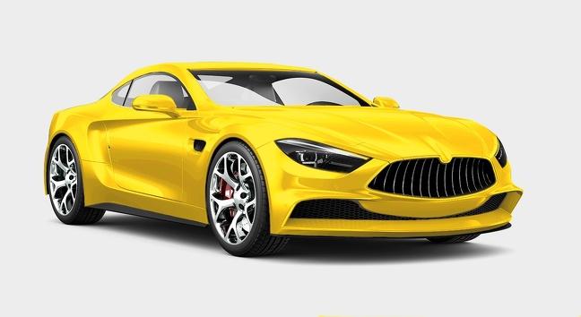 ماشین زرد یا طلایی رنگ