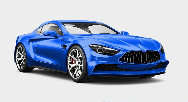 ماشین آبی رنگ