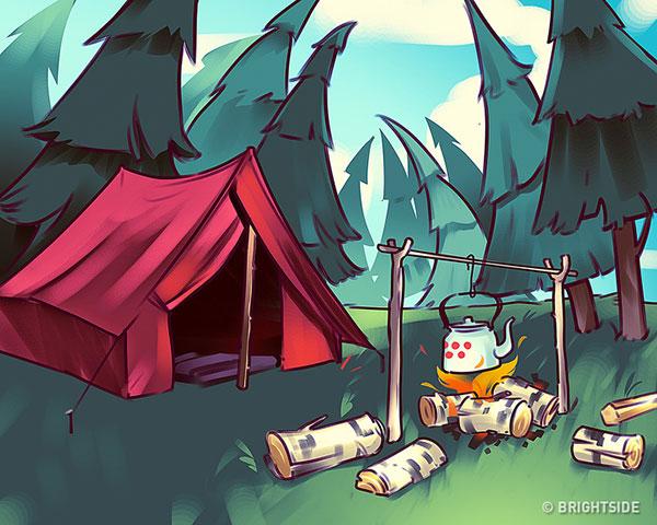 معمای اشتباه تصویر کجاست : اردوگاه در جنگل