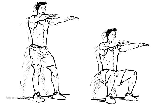 حرکات کششی لگن و ران پا : اسکات کنار دیوار