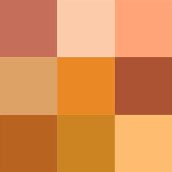 انواع طیف های رنگ نارنجی