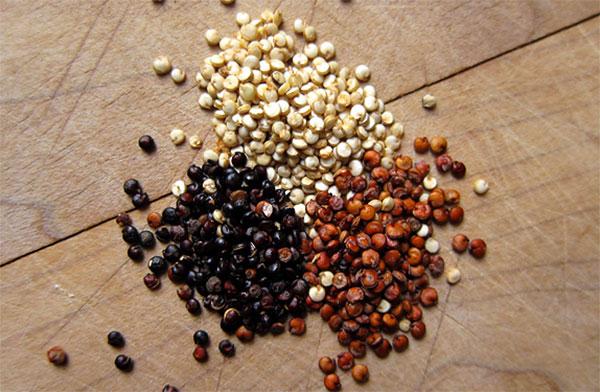 دانه های کینوا در رنگ های سفید، قرمز و سیاه
