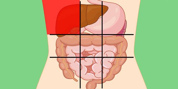 علت درد در قسمت بالا و سمت راست شکم