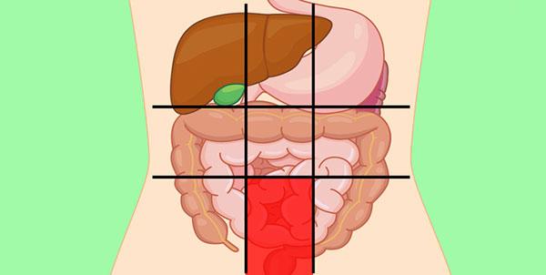 علت درد در قسمت پایین و بخش میانی شکم