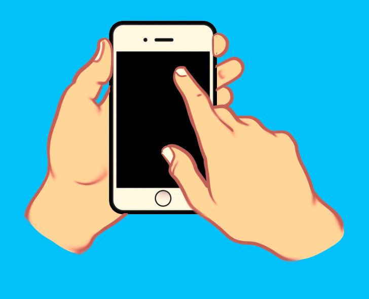 گوشی را با یک دست می گیرید و با انگشت اشاره دست دیگر صفحه را حرکت می دهید