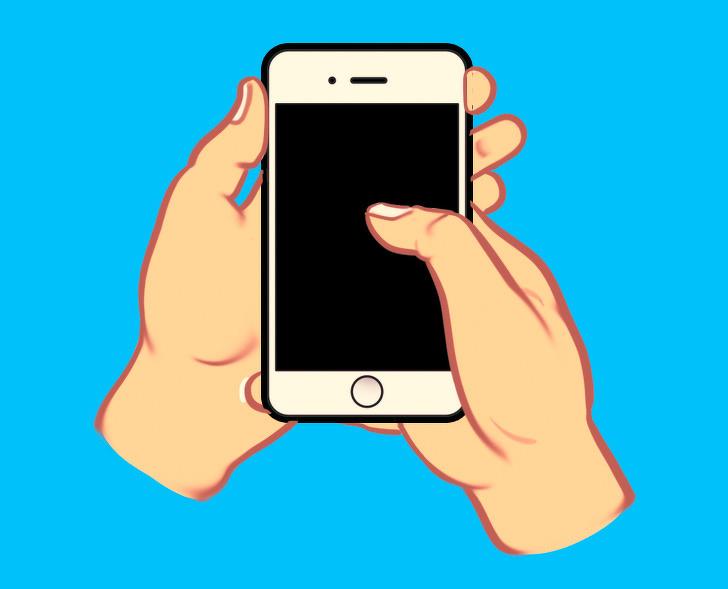 گوشی را با یک دست می گیرید و با دست دیگر صفحه را حرکت می دهید