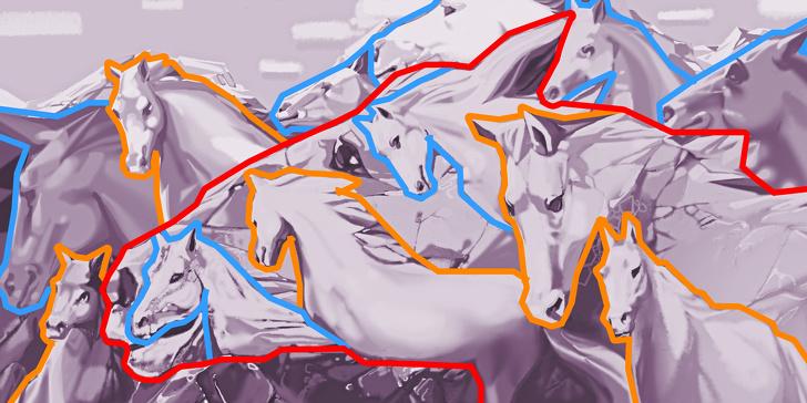 بیشتر از 11 اسب در تصویر می بینید