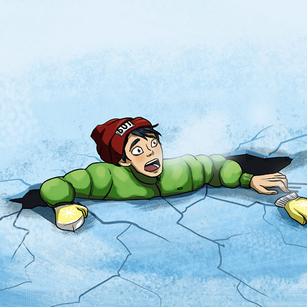 اگر در دریاچه یخ زده افتادید چه کنید؟