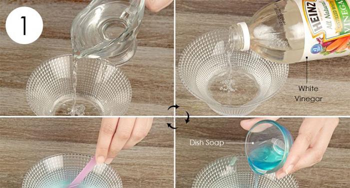 روش پاک کردن زردچوبه از روی لباس : سرکه سفید