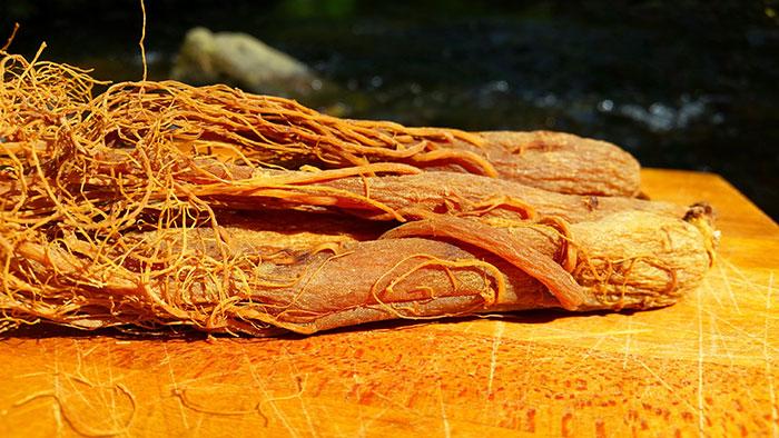 عکس ریشه خشک شده جینسینگ قرمز کره ای