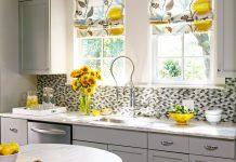 دکوراسیون زرد و خاکستری برای آشپزخانه